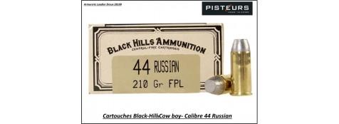 Cartouches-Black-Hills-calibre-44-Russian-COW-BOY-plomb-210 grains-FPL-Boite de 50-Pour armes anciennes-Ref blackhills-44-russian