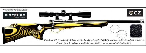 Carabine CZ  Mod 455 THUMBOLE yellow Calibre 22 LR Répétition Avec lunette varmint 6x24x50 mil dot lumineux vert/rouge-Promotion- R778687-bis