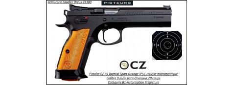 Pistolet CZ 75 Tactical sport orange Calibre 9 Para Semi automatique-Catégorie B1-Promotion-Autorisation-Préfectorale-B1-Ref 777024