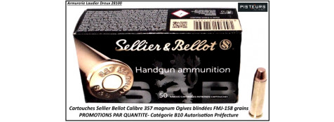 Cartouches sellier bellot 357 magnum par 500-poids 158 grs FMJ-Promotion-Ref 3037-bis