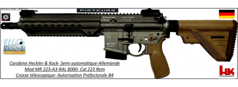 Carabine-HK-MR-223-A3-RAL8000-semi-automatique-Cal-223-rem-crosse-télescopique-Canon-14.5 pouces-Avec-Autorisation-Préfectorale-B4-Ref HK-MR-223-A3-Ral-8000-canon-14.5 pouces
