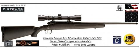Carabine SAVAGE AXIS XP Calibre 222 Rem Répétition Pack Lunette  3x9x40 Canon-FILETE-POUR-SILENCIEUX -Promotion-559.90 € ttc au lieu de 635.00 € ttc-Ref 780571