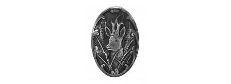 Calotte-pommeau-pour crosse pistolet -métal couleur argent- Gravures motif animalier- Chevreuil-ou Sanglier-ou Cerf.