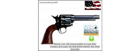 Revolver-Colt-Antique-Umarex-SAA-45-Calibre 4.5m/m-Tout -métal-finition-bleuté- simple action-Chargeur de 6 coups-Promotion-Ref 26055