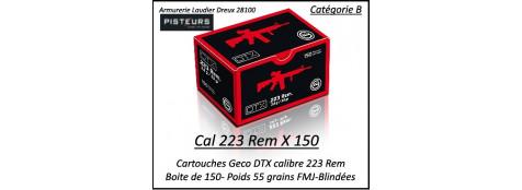 Cartouches calibre 223 rem GECO DTX FMJ blindées par 150 cartouches CIP poids 55 grains -Promotion-Ref 223-geco-150