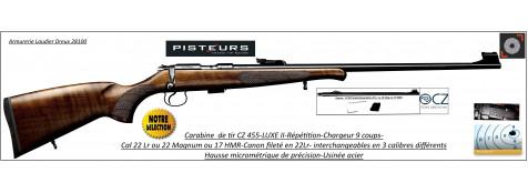 Carabines-CZ-455-Luxe II-Calibre 22 Lr -ou- 22 Magnum- ou-17 HMR-répétition-canons interchangeables-Promotion
