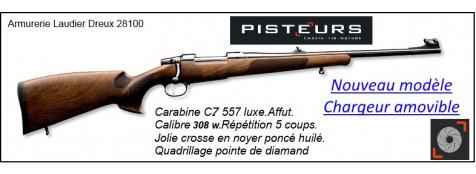 """Carabine CZ 557 luxe-Nouveau modèle-CHARGEUR-AMOVIBLE-Calibre 308 winch-Répétition 5 coups.""""Promotion""""Ref 778680"""