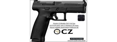 Pistolet CZ P 10F Calibre 9 Para Full size-Catégorie B1-Promotion-Avec-Autorisation-Préfectorale-B1-Ref 781453