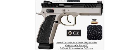 Pistolet-CZ-75-SHADOW-2-Urban-Grey-Calibre-9 Para-Semi automatique-Catégorie B1-Promotion-Avec-Autorisation-Préfectorale-B1-Ref 778229