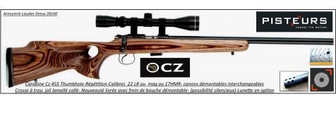 Carabine-CZ- Mod-455-THUMBOLE-Cal-17 HMR-Répétition-Ref CZ 455-thumbole-Promotion- R771873