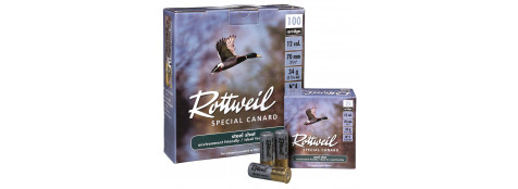 Cartouches-Billes acier-ROTTWEIL -Spécial Canard-basse pression-Cal 12/70-Plombs n° 4-boite de 100-Ref 10842