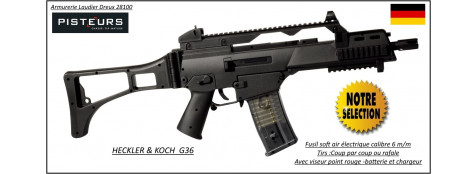 Fusil d'assaut  HECKLER & KOCH G36  Commando- Electrique soft air -Billes cal 6m/m-Promotion-Ref 11736