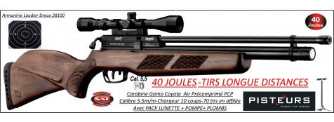 Carabine air Précomprimé PCP Gamo Coyote bois Calibre 5.5m/m Puissance 40  joules-Pack lunette+pompe-Grande puissance-Promotion-Ref PCP-G1632P