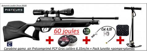 Carabine air Précomprimé PCP Gamo GX250  Calibre 6.35m/m Puissance 60  joules + Pack  lunette 3x9x40+pompe+plombs-Grande puissance-Promotion-Ref PCP-G1633P
