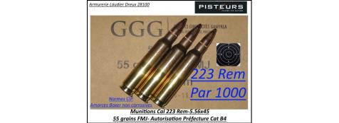 Cartouches calibre 223 rem 5.56x45 GGG FMJ blindées par 1000 cartouches CIP poids 55 grains+boite métallique étanche -Promotion-Ref ggg-5.56x45-1000