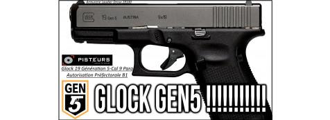 Pistolet Glock 19 génération 5 Calibre 9 Para-Semi automatique-Catégorie B1-Promotion-Avec-Autorisation-Préfectorale-Ref glock-19-5