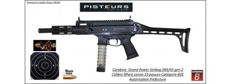 "Carabine Grand Power Stribog SR9 A3 gen 2 Calibre 9 Para semi-automatique canon 10 ""-Autorisation-Préfectorale-B2E-Ref grand power-SR9"