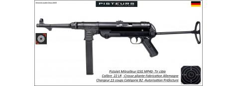 Pistolet mitrailleur GSG MP40 Calibre 22LR Catégorie B2-Ref GSG22-Autorisation Préfecture