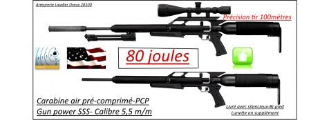 """Carabine-air comprimé-PCP- GUN POWER-SSS-Cal 5.5m/m-Puissance  80 joules-Tirs longues distances- Kit bouteille_Bi-pied-Silencieux-Promotion""""-Ref  powergun-sss-"""