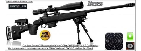 Carabines Howa GRS SNIPER Calibres 308 winch ou 6.5 Creedmoor Répétition Crosse réglable  rails picatini +lunette Nikko Sterling 6-24x50+Frein bouche+bipied-Promotion