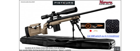 Carabines Howa KRG SNIPER Calibre 308 winch ou 6.5 Creedmoor Répétition Crosse réglable  rails picatini +lunette Nikko Sterling 6-24x50+Frein bouche+bipied-Promotions-