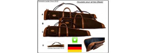 Blaser-Fourreaux-Toile Twill fin  fauve et Cuir de grande qualité-Fabrication type sellier-Promotions- Modèles A-B-C-D