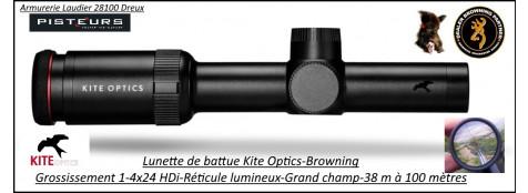 Lunette KITE OPTICS Battue-1-4x24 HDi Réticule lumineux-grand champ- 38m à 100 mètres -Ref  kite-K282332