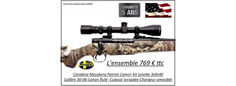 Carabine-Mossberg-Patriot-Camouflée-Calibre 30-06-Répétition+Pack Lunette  3x9x40-Promotion-Ref 27668