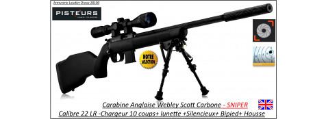"""Carabine-webley-Scott-Cal 22 Lr-carbone-SNIPER-répétition +Silencieux+Lunette 3x9x40+bipied + housse-'Promotion""""-Ref WSP06"""