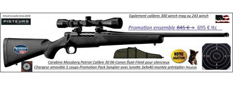 Carabine Mossberg Patriot Calibre 300 winch mag Répétition Pack  sanglier-complet-Lunette -3x9x40 Canon-FILETE-POUR-SILENCIEUX+housse -Promotion-695 € ttc au lieu de 845.00 € ttc-Ref PCKMO3000F-ea