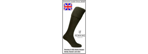 Chaussettes- anglaises- Pennine-Knicker--Gamekeeper derby tweed-(Vert/ Gris)-Taille L ou M- Ref D425