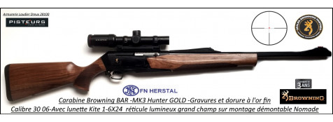 Browning MK3 Hunter GOLD Calibre 30- 06 Semi automatique noyer grade3  pack lunette KITE 1-6 x24-Promotion-Ref 031906726