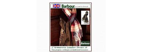 "Echarpes Barbour.Tartan lambswool. Carreaux fond vert.""Promotion"".Ref TN11"