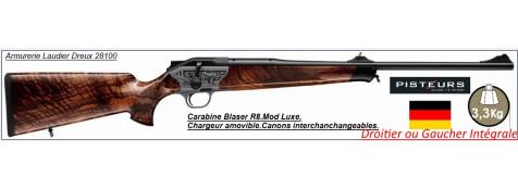 Carabine BLASER R8 Luxe gravée ou luxe bois DROITIER ou GAUCHER intégrale Chargeur amovible  Répétition Linéaire-Cal 7x64 ou cal 300 Winch mag ou 9.3x62-ou 30-06- Promotions