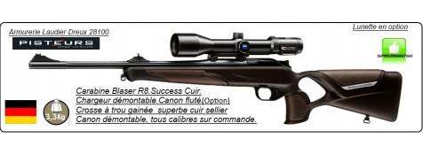 Carabine Blaser R8  Modèle SUCCESS CUIR Répétition Linéaire Chargeur amovible-Joli-marron-foncé-Calibres-300 winch mag-ou-9.3x62-ou-30-06-ou-7x64-Promotion-à partir-4765.00-€ttc.