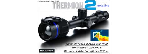 Lunette Thermique Pulsar Thermion 2XQ38 grossissement 2.5x10x38 réticule 4 colliers distance détection 1350 m-Promotion -Ref 42181