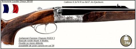 """Juxtaposés-Express-Chapuis-RGEX 3-Éjecteurs -Cal 8x57 Jrs-ou 9.3x74R-""""Promotion"""""""