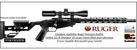 Carabine-Ruger-précision-rimfire-répétition-cal 22 Lr-chargeur 10 coups-Avec-lunette 3x9x40-hawke-réticule lumineux-Promotion-Ref 33067-bis