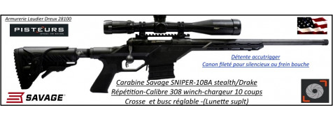 Carabine Savage 10BA Stealth Drake SNIPER Calibre 308 winch filetée  Répétition-Crosse réglable-rails picatini -Promotion-Ref 777616
