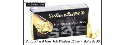 Cartouches 9 para Sellier Bellot FMJ-Blindées-Par -50-poids-8gr/ 124 grs-Promotion-Ref 3041