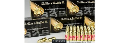 Cartouches-9 para-Sellier-Bellot-FMJ-Blindées-Par 1000-poids-8gr/ 124 grs-Promotion-Ref 3041-1000