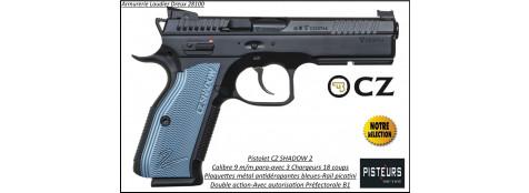 Pistolet CZ 75 SHADOW 2 BLEU Calibre 9 Para-Semi automatique-Catégorie B1-Promotion-Avec-Autorisation-Préfectorale-B1-Ref 777709