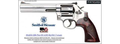 Révolver Smith et Wesson 686 PLUS de luxe Calibre 357-magnum  inox Canon 6 pouces -Catégorie B1-Autorisation-Préfecture-Promotion-Ref 778600