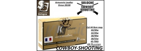 Cartouches Sologne cowboy shooting Cal  44-rem mag-BALLES PLOMB-Ref 44Rem-mag-cowboy-shooting