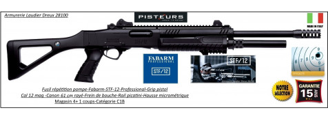Fusil-pompe-Fabarm-STF-12-Tactical-grip-pistol-Cal 12 Magnum-Canon-rayé-61 cm-4+1 coups-Hausse-micrometrique-Crosse-composite-Frein de bouche-Promotion-Ref 30933