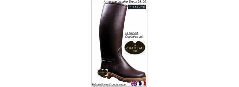 Bottes le Chameau Saint Hubert doublées cuir  marron ou noires Promotion 236 € ttc au lieu de 270 € ttc