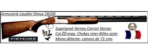 Superposé Vercar Cal 20 magnum Verney Carron-St Etienne-Extracteur- Mono-détente-Chokes inter-Ref 29573-CH20VERCAR71CX