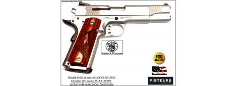 Pistolet-Smith-et-Wesson-USA-Calibre-45-ACP-Semi automatique-Mod -1911-E-Series-INOX-Catégorie B1-Promotion-Avec-Autorisation-Préfectorale-Ref 771884