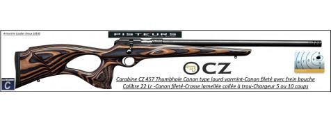 Carabine CZ 457 THUMBOLE lamellée marron Calibre 22 LR Répétition-canon  fileté Varmint lourd- frein bouche-Promotion- R782367