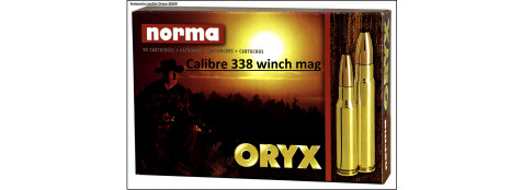Cartouches-Norma-cal 338 winch mag-Oryx (14.9 g- 230 grains).Ref 27064